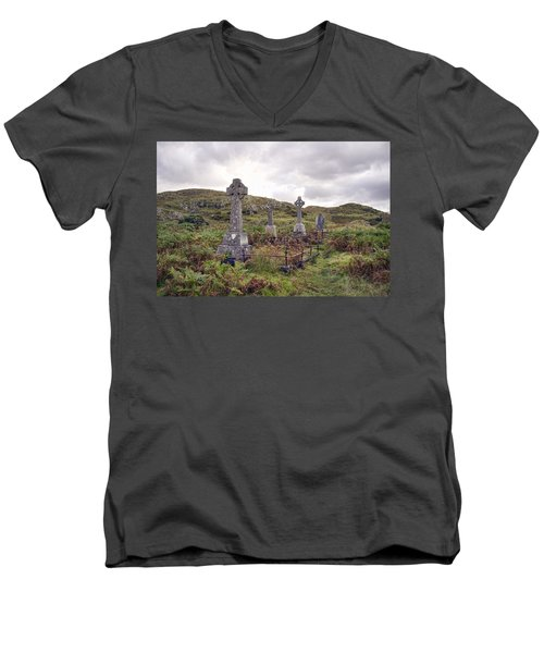 Men's V-Neck T-Shirt featuring the photograph Celtic Cemetary by Hugh Smith