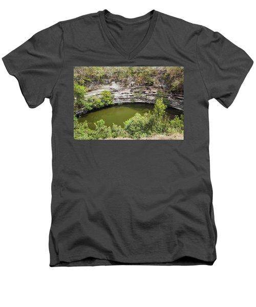 Cenote Sagrado At Chichen Itza Men's V-Neck T-Shirt