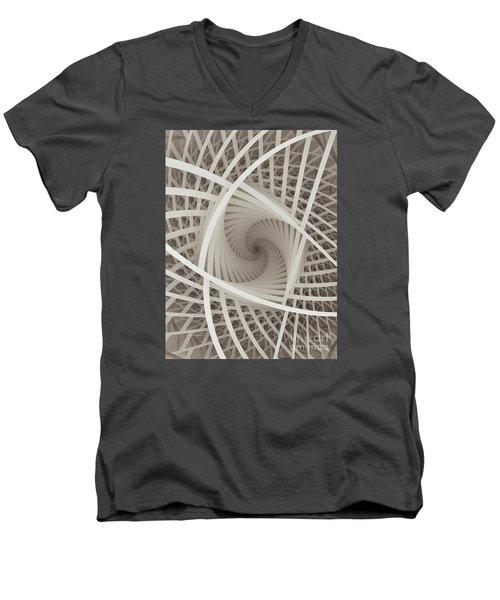Centered White Spiral-fractal Art Men's V-Neck T-Shirt by Karin Kuhlmann