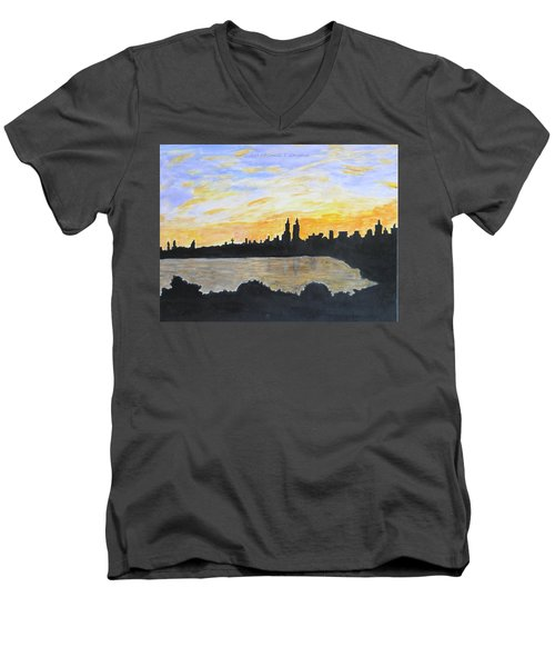 Central Park In Newyork Men's V-Neck T-Shirt
