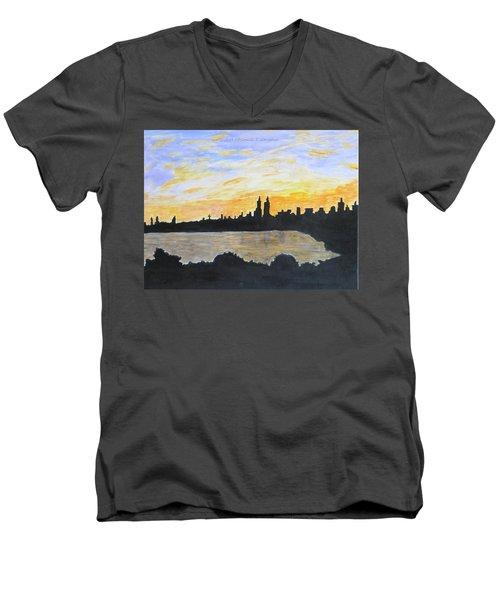 Central Park In Newyork Men's V-Neck T-Shirt by Sonali Gangane