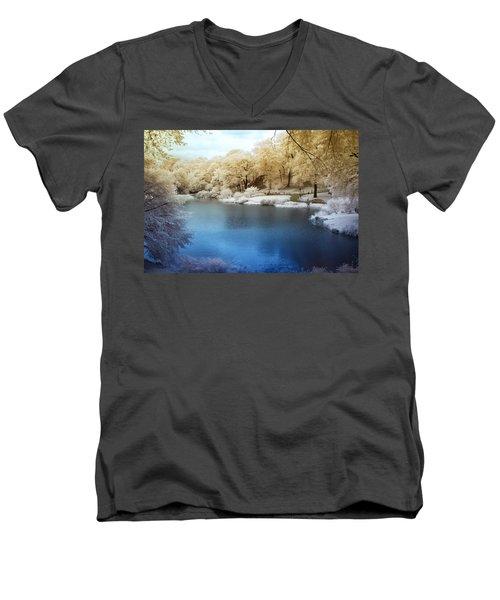 Central Park Lake Infrared Men's V-Neck T-Shirt