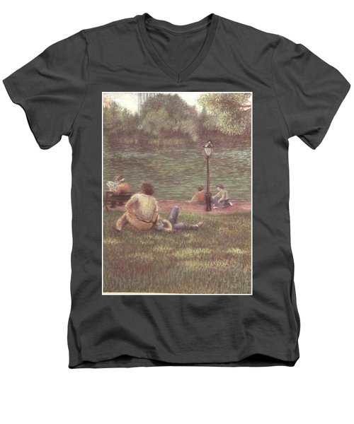 Men's V-Neck T-Shirt featuring the painting Central Park Nyc by Walter Casaravilla