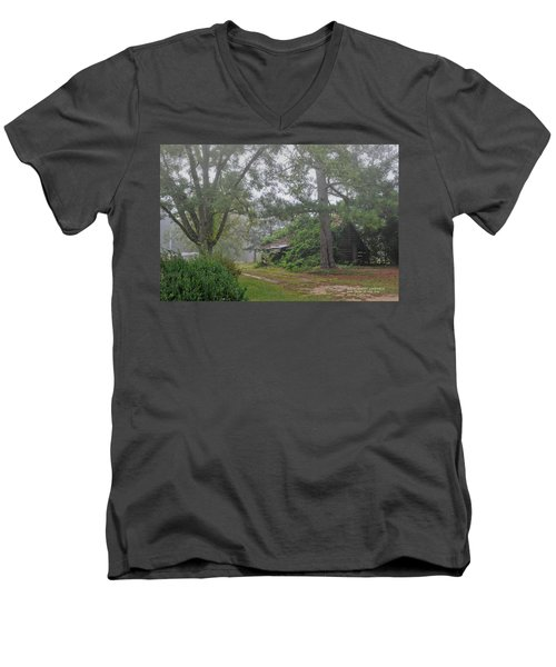 Men's V-Neck T-Shirt featuring the photograph Century-old Shed In The Fog - South Carolina by David Perry Lawrence