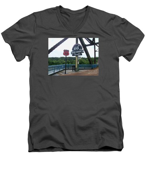 Men's V-Neck T-Shirt featuring the photograph Chain Of Rocks Bridge by Kelly Awad