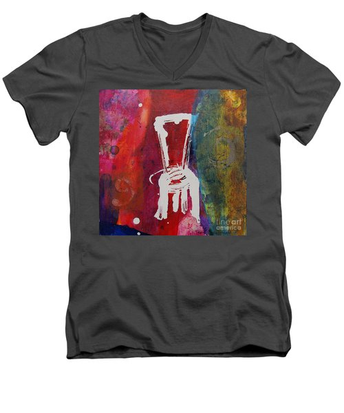 Men's V-Neck T-Shirt featuring the painting Chair by Robin Maria Pedrero