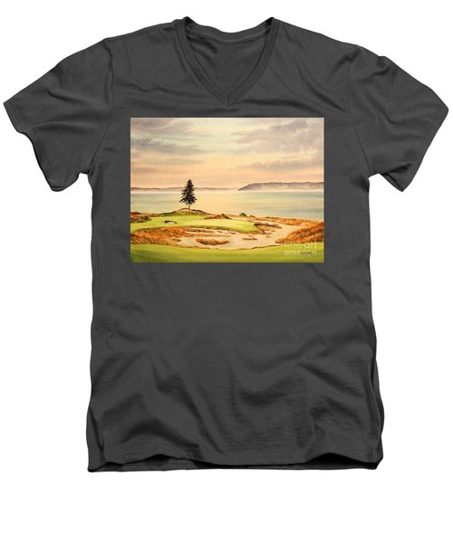 Men's V-Neck T-Shirt featuring the painting Chambers Bay Golf Course Hole 15 by Bill Holkham