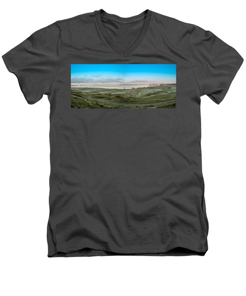 Chambers Bay Panorama Men's V-Neck T-Shirt by E Faithe Lester