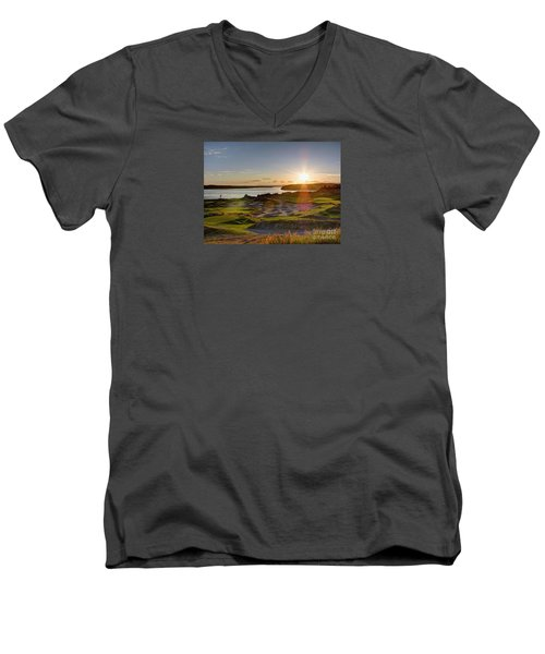 Men's V-Neck T-Shirt featuring the photograph Chambers Bay Sun Flare - 2015 U.s. Open  by Chris Anderson