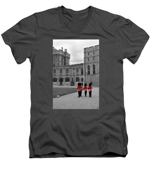 Changing Of The Guard At Windsor Castle Men's V-Neck T-Shirt by Lisa Knechtel