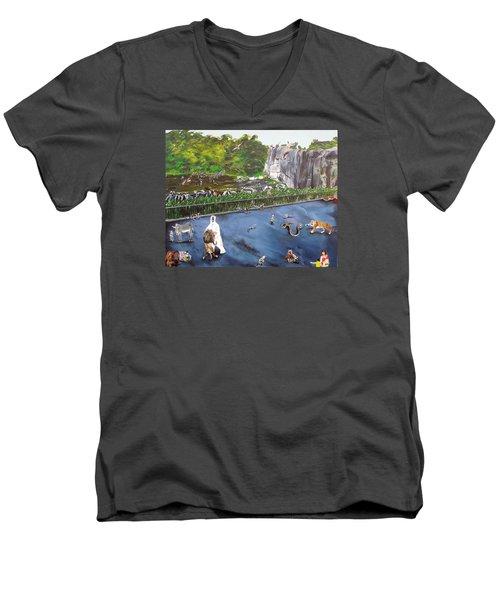 Chaos At The Garden Men's V-Neck T-Shirt by Raymond Perez