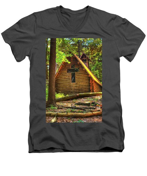 Chapel In The Pines Men's V-Neck T-Shirt
