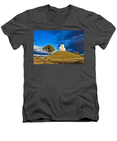 Chapel On Green Hill Nin Dalmatia Men's V-Neck T-Shirt