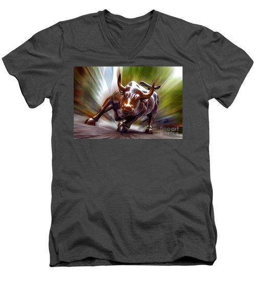 Charging Bull Men's V-Neck T-Shirt by Az Jackson