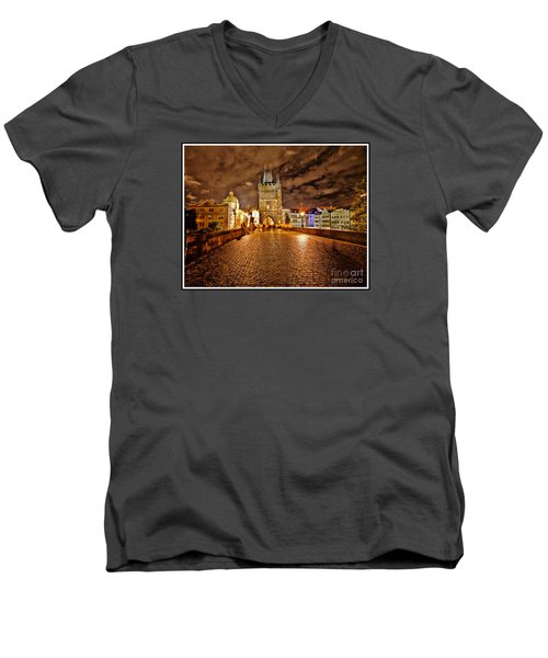 Charles Bridge At Night Men's V-Neck T-Shirt by Madeline Ellis