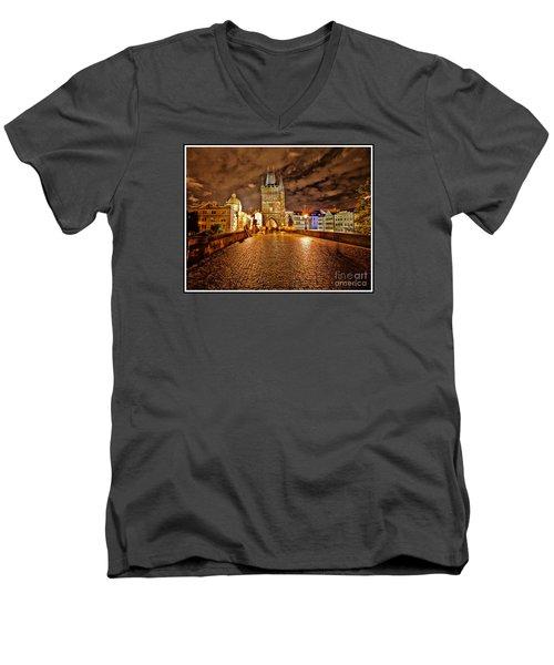 Charles Bridge At Night Men's V-Neck T-Shirt