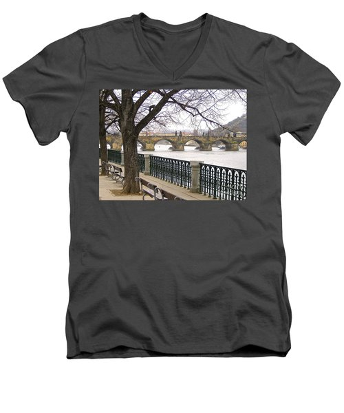 Charles Bridge  Men's V-Neck T-Shirt by Suzanne Oesterling