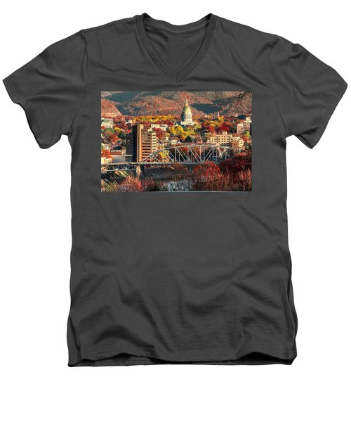 Charleston And Wv Capitol Men's V-Neck T-Shirt