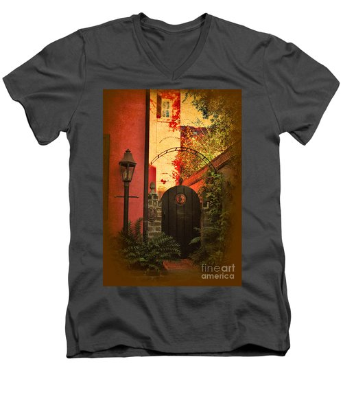 Men's V-Neck T-Shirt featuring the photograph Charleston Garden Entrance by Kathy Baccari