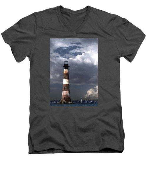 Charleston Lights Men's V-Neck T-Shirt by Skip Willits