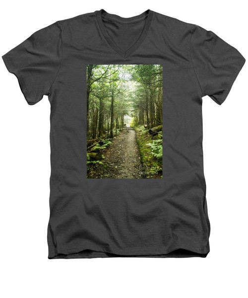 Men's V-Neck T-Shirt featuring the photograph Charlies Bunion Bald Trail by Debbie Green