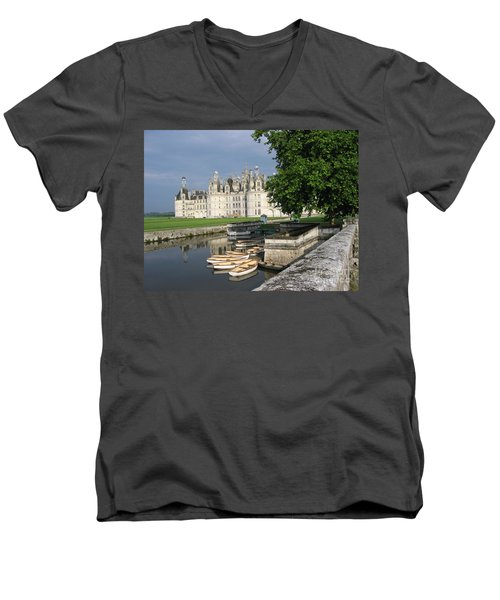 Chateau Chambord Boating Men's V-Neck T-Shirt by HEVi FineArt