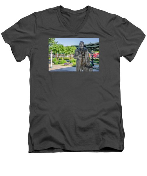 Men's V-Neck T-Shirt featuring the photograph Chattanooga Choo Choo Court Yard by Susan  McMenamin