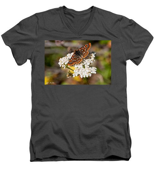 Checkerspot Butterfly On A Yarrow Blossom Men's V-Neck T-Shirt by Jeff Goulden