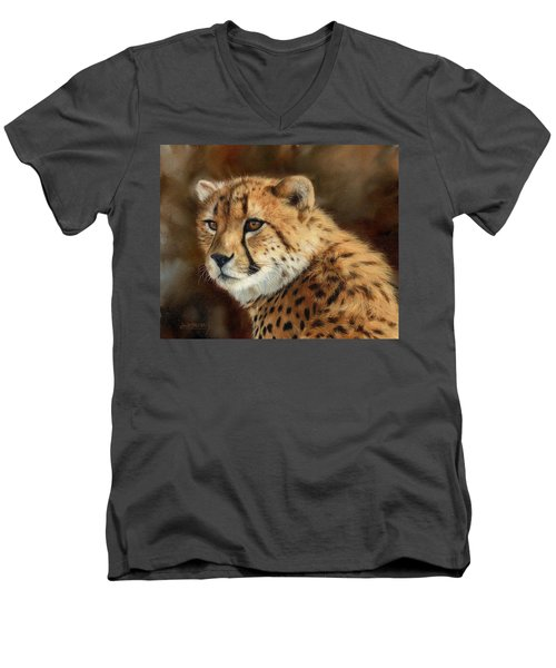 Cheetah Men's V-Neck T-Shirt by David Stribbling