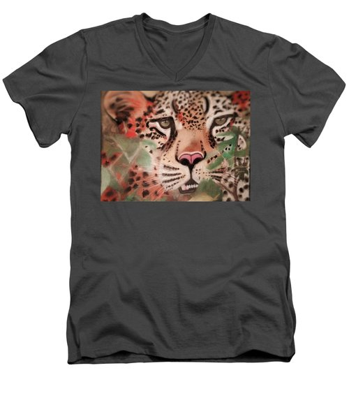 Cheetah In The Grass Men's V-Neck T-Shirt