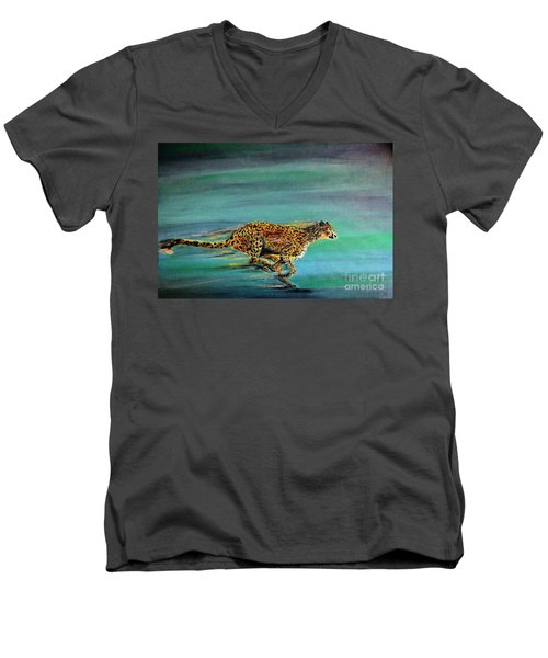 Cheetah Run Men's V-Neck T-Shirt