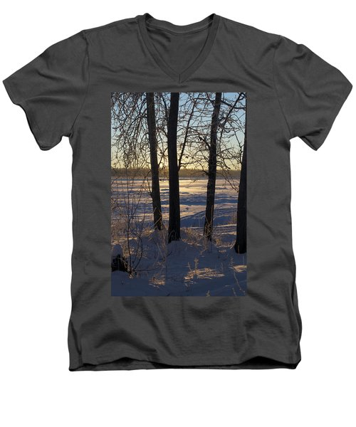 Chena River Trees Men's V-Neck T-Shirt by Cathy Mahnke