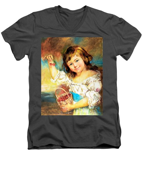 Men's V-Neck T-Shirt featuring the painting Cherry Basket Girl by Sher Nasser