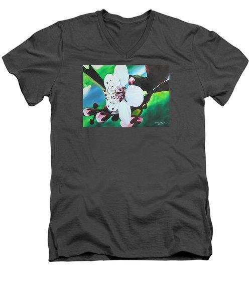 Men's V-Neck T-Shirt featuring the painting Cherry Blosom by Joshua Morton