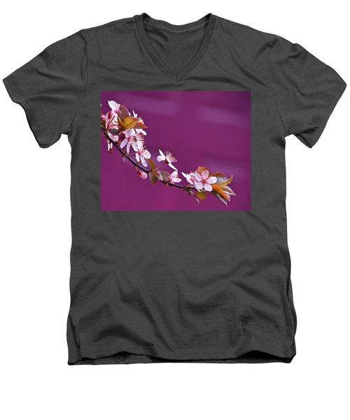 Cherry Blossoms And Plum Door Men's V-Neck T-Shirt