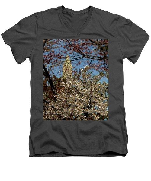 Cherry Blossoms And The Monument Men's V-Neck T-Shirt