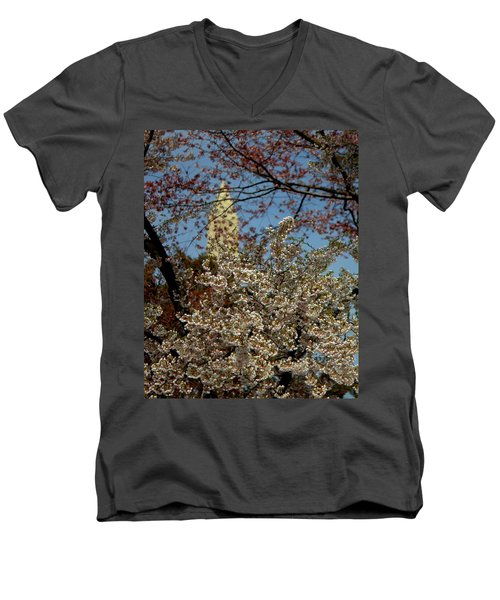Cherry Blossoms And The Monument Men's V-Neck T-Shirt
