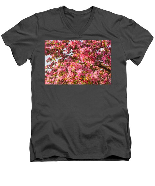 Men's V-Neck T-Shirt featuring the photograph Cherry Blossoms In Washington D.c. by Mitchell R Grosky