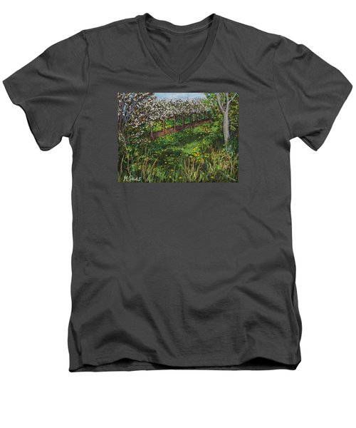 Cherry Orchard Evening Men's V-Neck T-Shirt by Madonna Siles