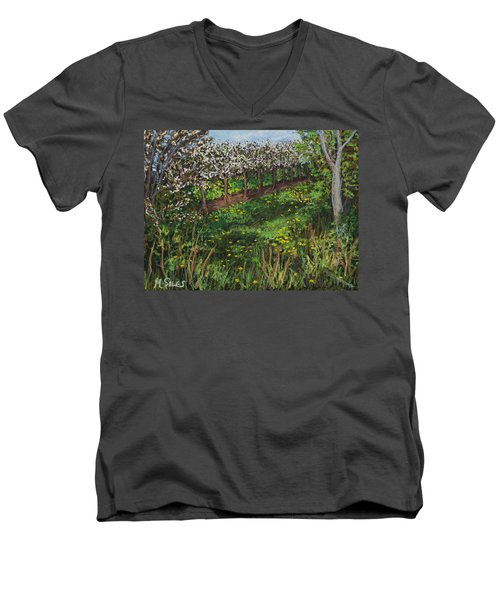 Cherry Orchard Evening Men's V-Neck T-Shirt