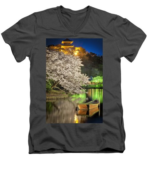 Cherry Blossom Temple Boat Men's V-Neck T-Shirt by John Swartz