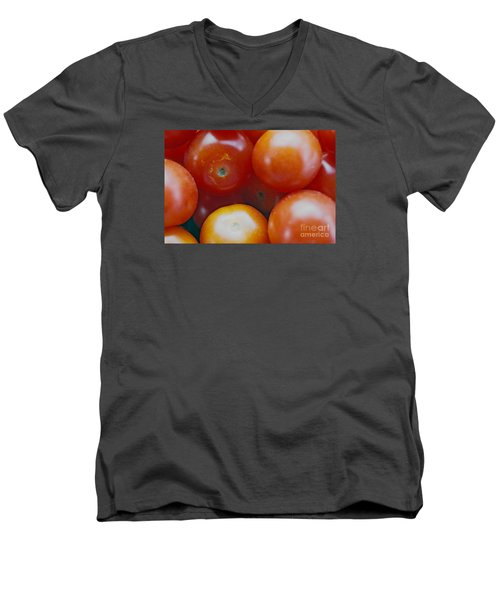Men's V-Neck T-Shirt featuring the photograph Cherry Tomatoes by Cassandra Buckley