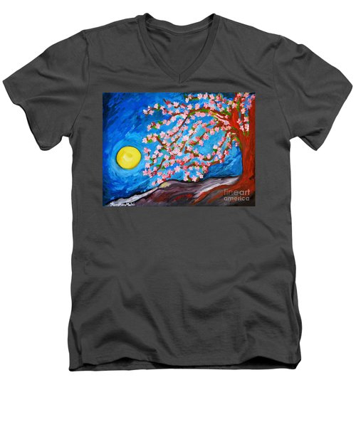 Men's V-Neck T-Shirt featuring the painting Cherry Tree In Blossom  by Ramona Matei