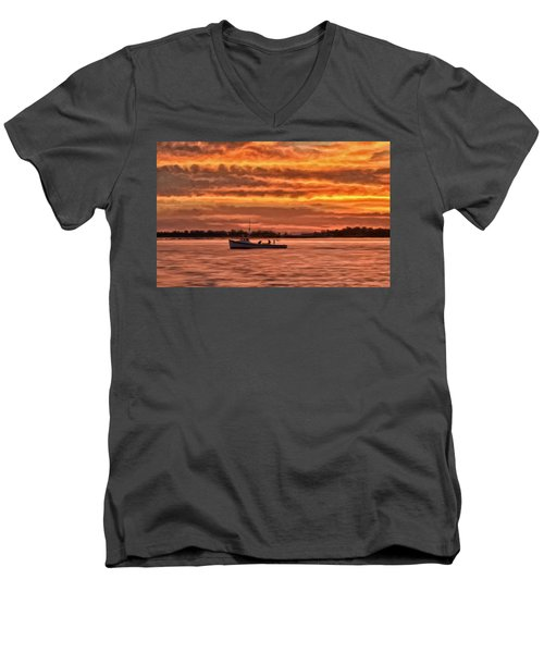 Chesapeake Watermen Men's V-Neck T-Shirt by Michael Pickett