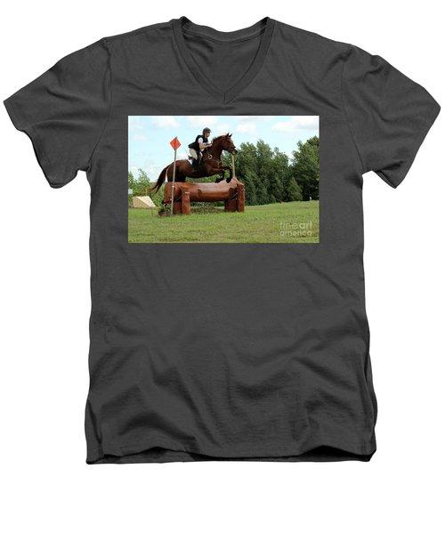 Chestnut Over Log Jump Men's V-Neck T-Shirt
