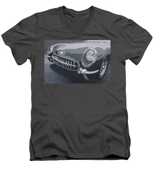Men's V-Neck T-Shirt featuring the painting Chevrolet Corvette 1954 by Anna Ruzsan