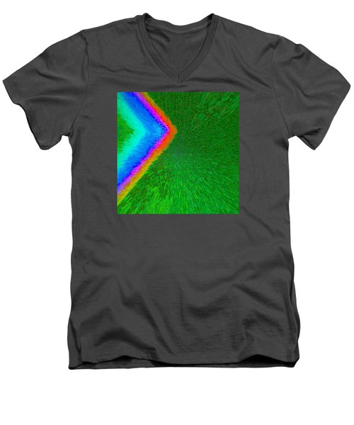 Men's V-Neck T-Shirt featuring the painting Chevron Rainbow C2014 by Paul Ashby