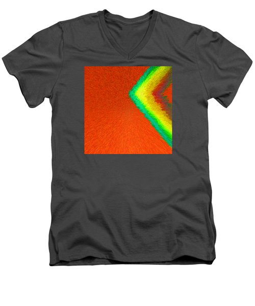Men's V-Neck T-Shirt featuring the painting Chevron Rainbow Orange C2014 by Paul Ashby