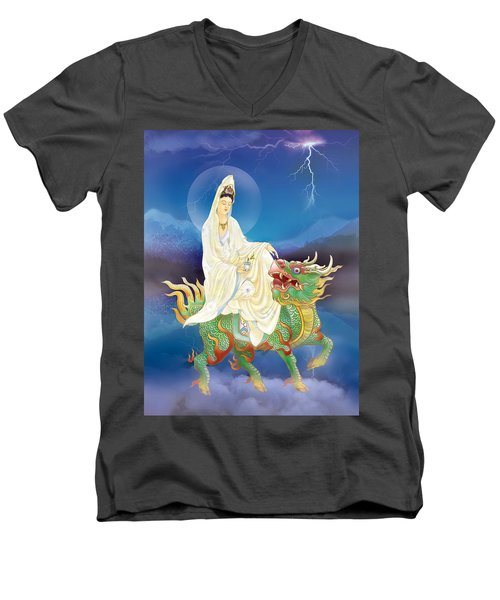 Chi Lin Kuan Yin Men's V-Neck T-Shirt by Lanjee Chee