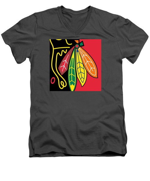 Chicago Blackhawks Men's V-Neck T-Shirt by Tony Rubino